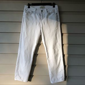 LUCKY BRAND White Embroidered  Sweet Crop Jeans